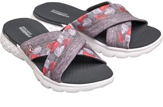 Skechers Womens On The GO 400 Tropical Cross Band Slide Sandals Gray
