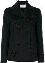 Valentino butterfly embroidered peacoat - women - Silk/Polyester/Cashmere/Wool - 40