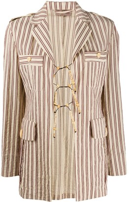 Romeo Gigli Pre-Owned 1990s Bead Details Striped Jacket