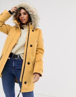 Vero Moda faux fur hooded parka-Gold