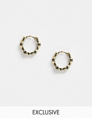 Reclaimed Vintage inspired gold hoop earrings in burnished gold