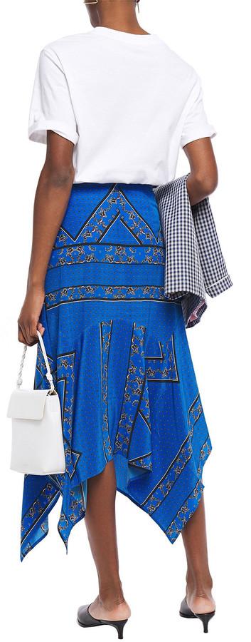 Thumbnail for your product : Ganni Asymmetric Printed Silk Crepe De Chine Midi Skirt