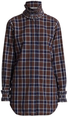 Victoria Beckham Ruffled High-Neck Plaid Shirt