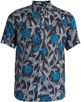 Etro Floral-print short-sleeved linen shirt