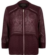 River Island Womens Burgundy crochet bomber jacket
