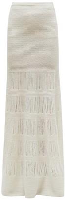 Gabriela Hearst Rodine Rib-knit Tiered Wool-blend Skirt - Womens - Ivory