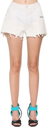 Off-White Coated Cotton Denim Shorts