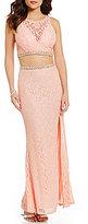 Jodi Kristopher Beaded Trim Two-Piece Long Lace Dress