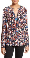 Tracy Reese Floral Print Silk Cold Shoulder Blouse