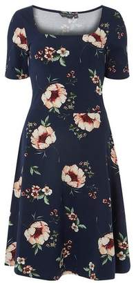 Dorothy Perkins Womens **Tall Navy Branch Print Fit And Flare Dress