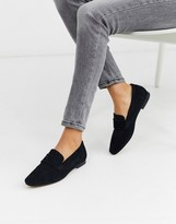 Asos Design DESIGN Motion suede loafers in black