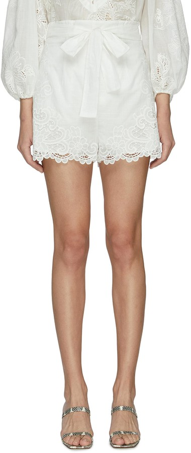 Zimmermann LULU' Embroidered Scallop Hem Shorts