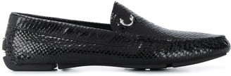 Just Cavalli Snakeskin-Effect Square-Toe Loafers