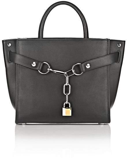 Alexander Wang ATTICA CHAIN LARGE SATCHEL IN BLACK WITH RHODIUM Shoulder Bag