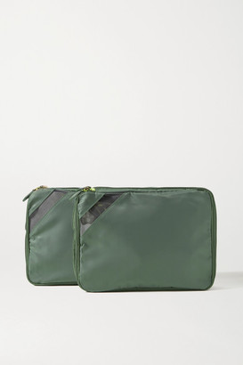 Paravel Set Of Two Pvc-trimmed Shell Packing Cubes - Army green