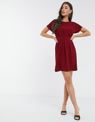 ASOS DESIGN nipped in waist mini dress in red