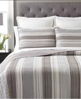 Martha Stewart Collection 100% Cotton Garrison Stripe Neutral Queen Quilt