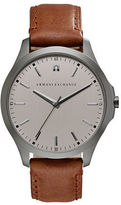 Armani Exchange Diamond, Stainless Steel & Leather Strap Watch