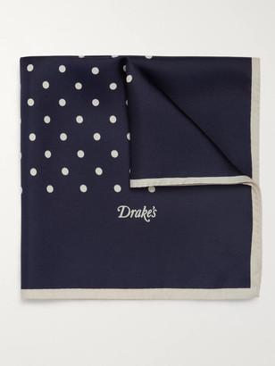 Drakes Polka-Dot Silk Pocket Square