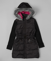 Urban Republic Black Sweater Long Puffer Coat - Girls