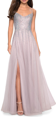 La Femme Sleeveless Long Embellished Tulle Gown