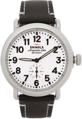 Shinola Silver and White The Runwell 41mm Watch