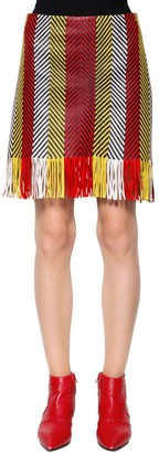Drome Woven & Fringed Nappa Leather Mini Skirt
