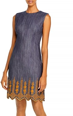 Adam Lippes Embroidered Sheath Dress