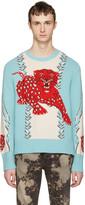 Gucci Blue Serenity Leopard Sweater