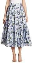 Erdem Leigh Floral-Print Skirt