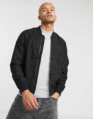 Bershka faux suede bomber jacket in black