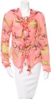 Roberto Cavalli Silk Floral Print Blouse