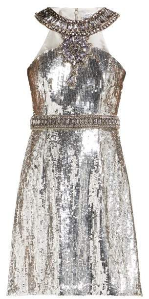 Andrew Gn Crystal And Sequin Embellished Mini Dress - Womens - Silver