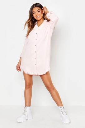 boohoo Distressed Baby Cord Shirt Dress