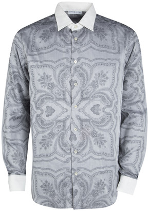 Etro Grey Printed Contrast Collar and Cuff Detail Long Sleeve Shirt L