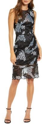 Adelyn Rae Alexandria Embroidered Mesh Sheath Dress