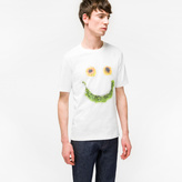 Paul Smith Men's Slim-Fit White 'Floral Smile' Print T-Shirt