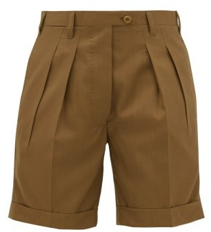 Giuliva Heritage Collection Double-pleat Tailored Wool Shorts - Brown