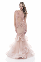 Terani Couture Cap Sleeve Sparkling Tiered Mermaid Gown 1522GL0839A