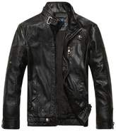 Jinmen Men's Vintage Stand Collar Pu Leather Jacket