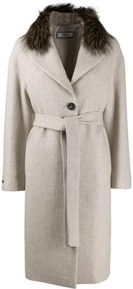 Peserico belted single-breasted coat