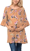 Mocha Floral Ruffle Sleeve Maternity Scoop Neck Tunic