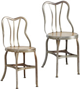 Rejuvenation Pair of Metal and Wood Cafe Chairs