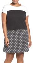 Ellen Tracy Plus Size Women's Colorblock Ponte & Jacquard A-Line Shift Dress