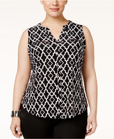 INC International Concepts Plus Size Printed Zip-Trim Blouse, Only at Macy's