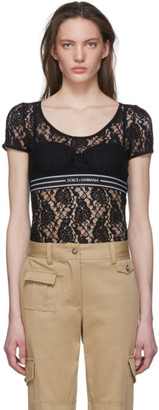 Dolce & Gabbana Black Lace Band T-Shirt