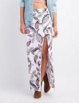 Charlotte Russe Paisley Wrap Slit Maxi Skirt