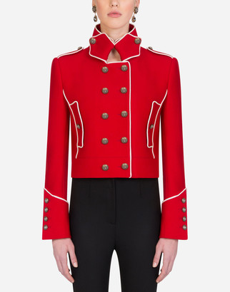 Dolce & Gabbana Cropped Double-Breasted Jacket In Wool With Piping