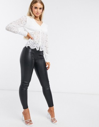 Femme Luxe button through all over lace shirt in white