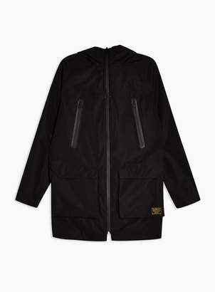 Topman Mens Black Parka Jacket